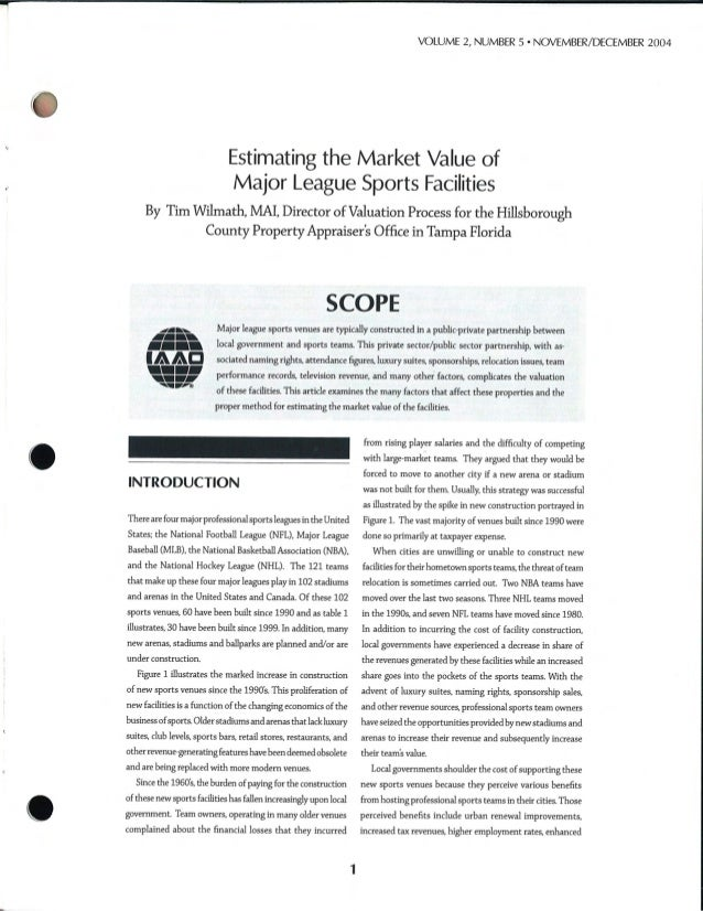 Estimating the value of sports facilities