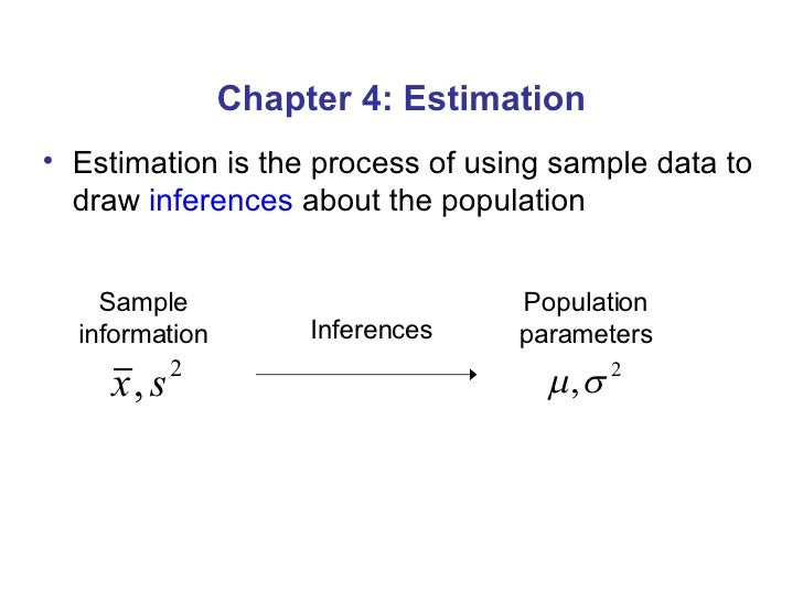 Chapter 4: Estimation <ul><li>Estimation is the process of using sample data to draw  inferences  about the population </l...