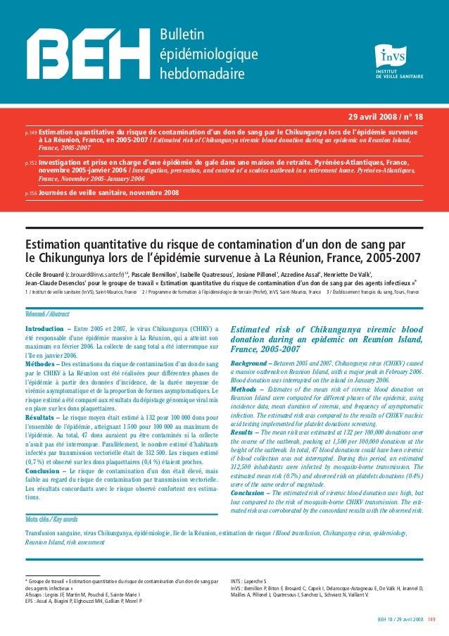BEH 18 / 29 avril 2008 149 29 avril 2008 / n° 18 p.149 Estimation quantitative du risque de contamination d'un don de sang...