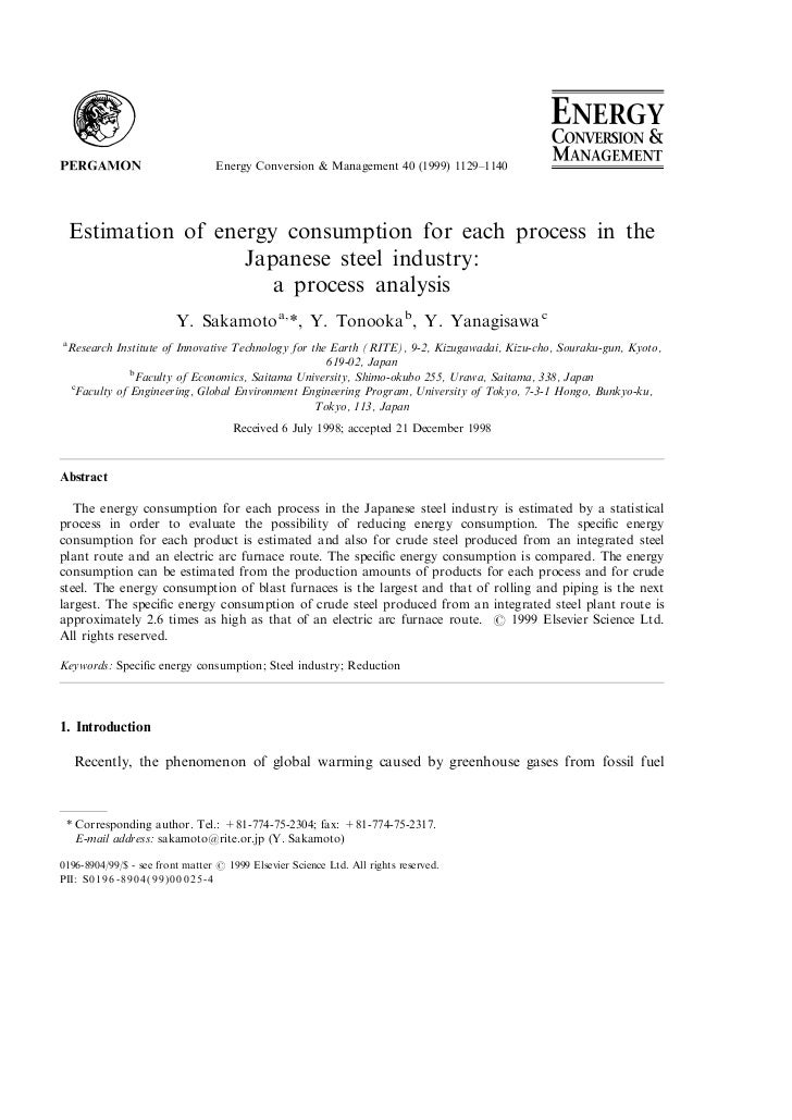 Energy Conversion & Management 40 (1999) 1129±1140    Estimation of energy consumption for each process in the            ...