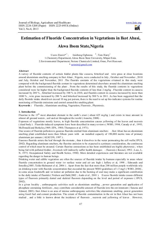 Estimation of fluoride concentration in vegetations in ikot abasi, akwa ibom state,nigeria