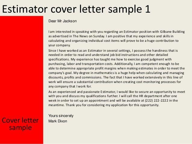 Assistant Estimator Cover Letter Electrical Estimator Cover