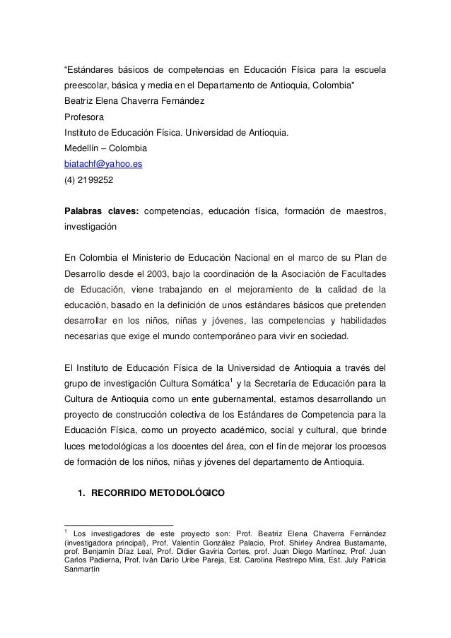 Est ndares b sicos de competencias en educaci n f sica for Estandares para preescolar