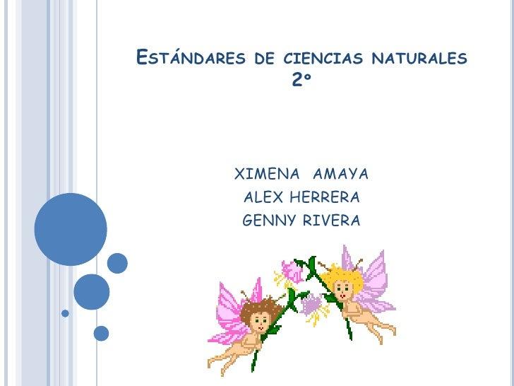 ESTÁNDARES   DE CIENCIAS NATURALES                2º        XIMENA AMAYA         ALEX HERRERA         GENNY RIVERA