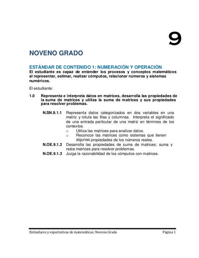 9NOVENO GRADOESTÁNDAR DE CONTENIDO 1: NUMERACIÓN Y OPERACIÓNEl estudiante es capaz de entender los procesos y conceptos ma...