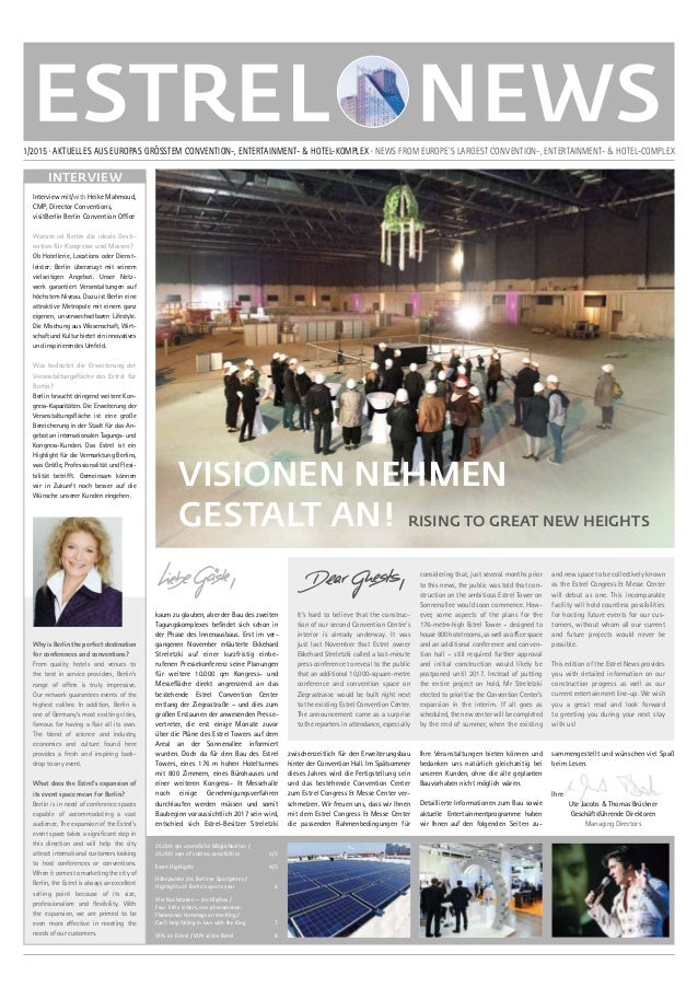 VISIONEN NEHMEN GESTALT AN! RISING TO GREAT NEW HEIGHTS 1/2015 · AKTUELLES AUS EUROPAS GRÖSSTEM CONVENTION-, ENTERTAINMENT...