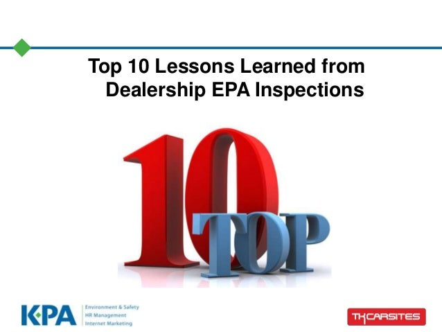 Top 10 Lessons Learned from Dealership EPA Inspections