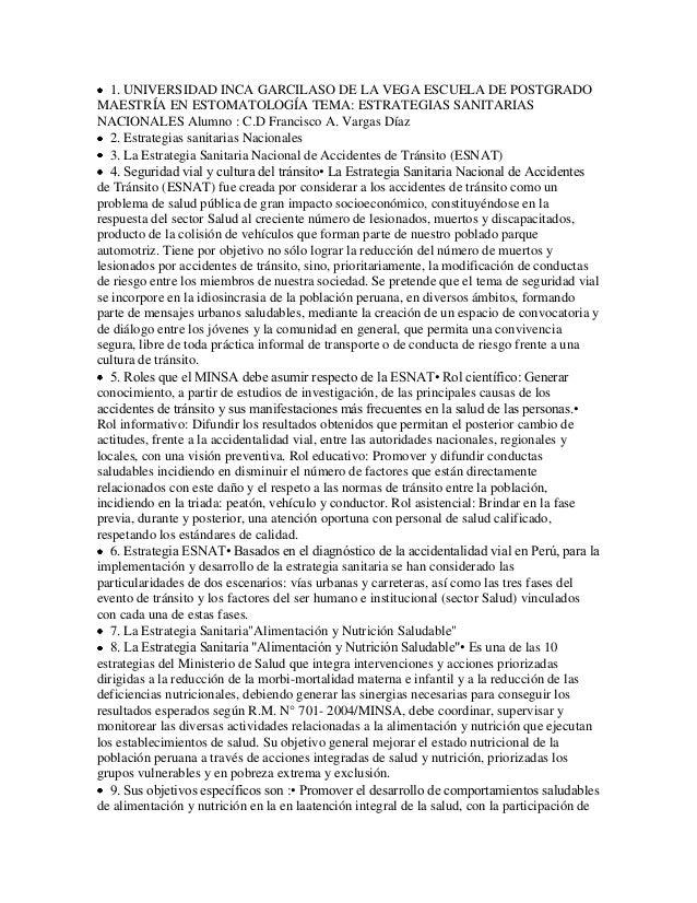 1. UNIVERSIDAD INCA GARCILASO DE LA VEGA ESCUELA DE POSTGRADOMAESTRÍA EN ESTOMATOLOGÍA TEMA: ESTRATEGIAS SANITARIASNACIONA...
