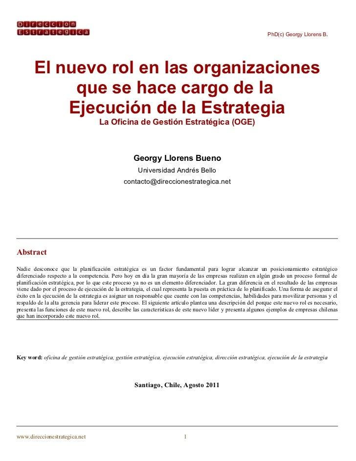 PhD(c) Georgy Llorens B.       El nuevo rol en las organizaciones            que se hace cargo de la           Ejecución d...