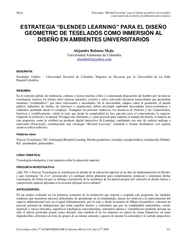 """Estrategia """"blended learning"""" para el diseño geometric de teselados como inmersión al diseño en ambientes universitarios   alejandro rubiano mejía (2009)"""