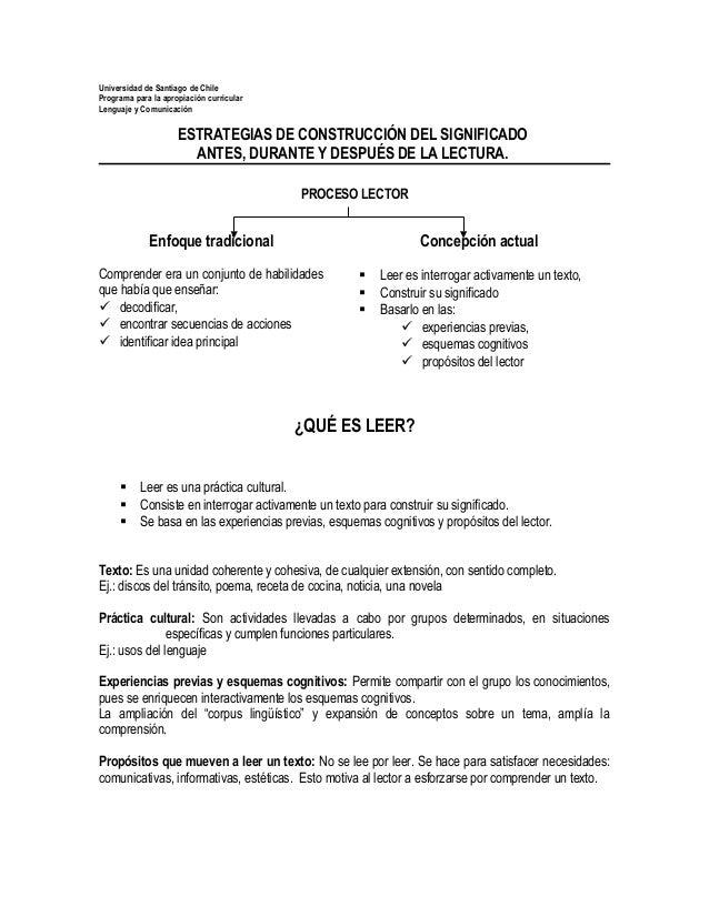 Universidad de Santiago de ChilePrograma para la apropiación curricularLenguaje y ComunicaciónESTRATEGIAS DE CONSTRUCCIÓN ...