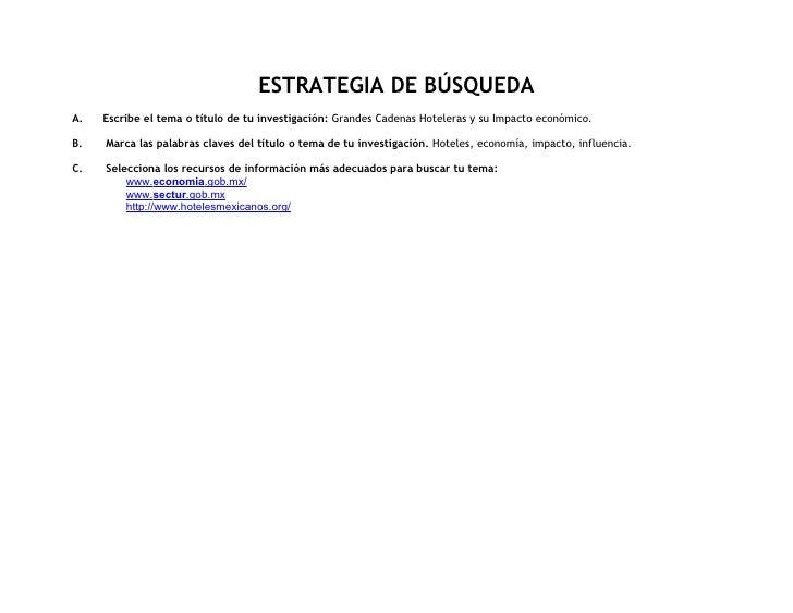 ESTRATEGIA DE BÚSQUEDA A.   Escribe el tema o título de tu investigación: Grandes Cadenas Hoteleras y su Impacto económico...