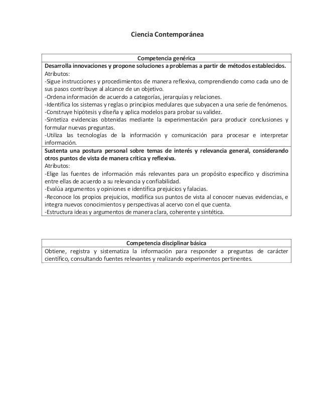 Ciencia Contemporánea                                       Competencia genéricaDesarrolla innovaciones y propone solucion...
