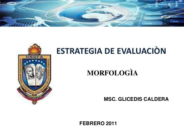 ESTRATEGIA DE EVALUACIÒN       MORFOLOGÌA            MSC. GLICEDIS CALDERA     FEBRERO 2011