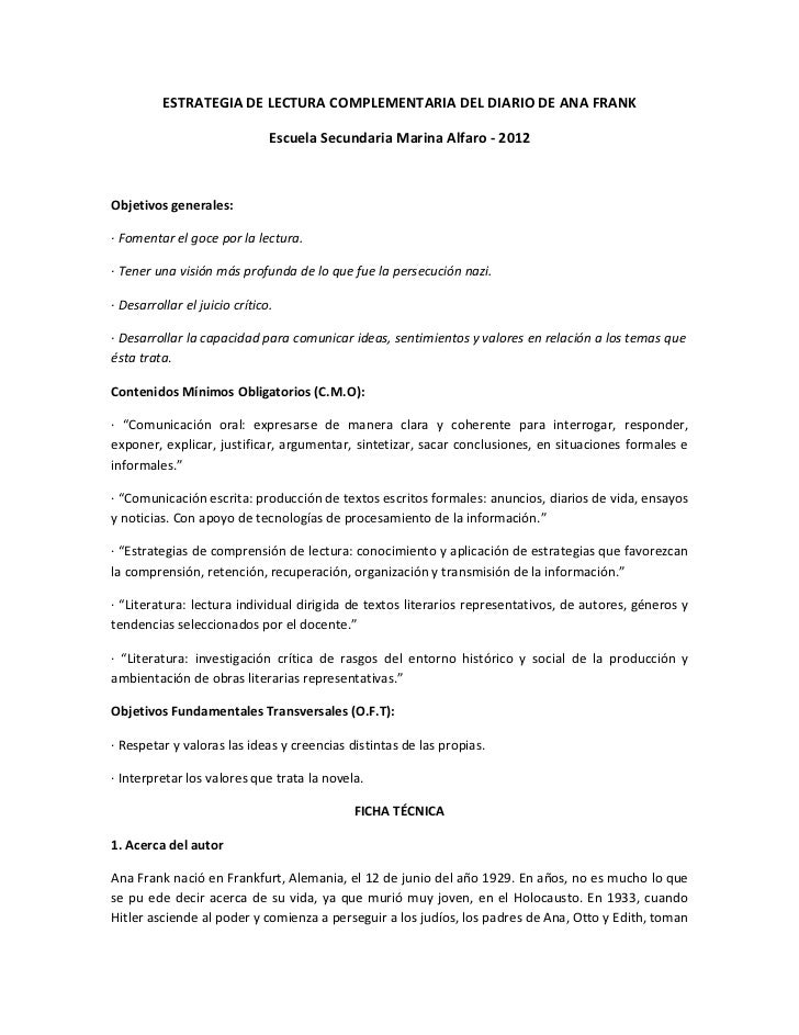 ESTRATEGIA DE LECTURA COMPLEMENTARIA DEL DIARIO DE ANA FRANK                               Escuela Secundaria Marina Alfar...