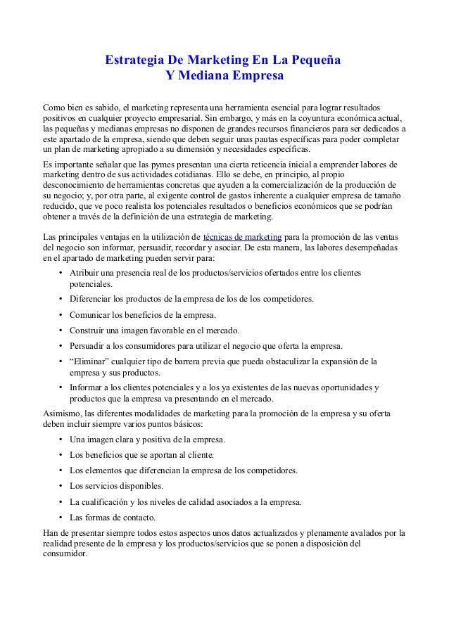 Estrategia De Marketing En La Pequeña Y Mediana Empresa