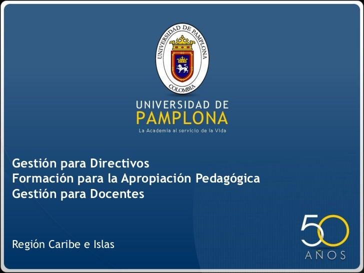 Región Caribe e Islas Gestión para Directivos Formación para la Apropiación Pedagógica Gestión para Docentes