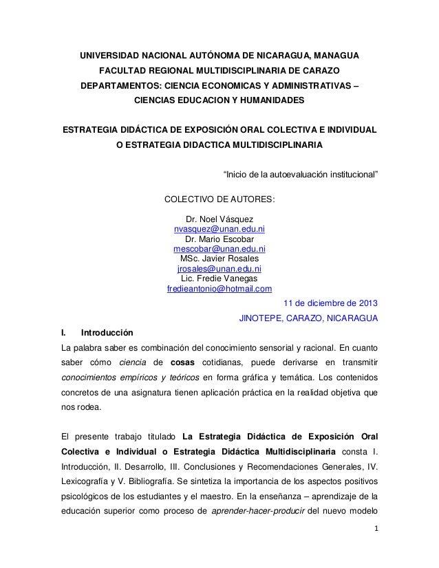 UNIVERSIDAD NACIONAL AUTÓNOMA DE NICARAGUA, MANAGUA FACULTAD REGIONAL MULTIDISCIPLINARIA DE CARAZO DEPARTAMENTOS: CIENCIA ...