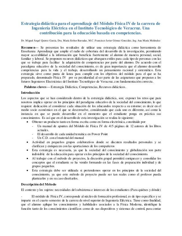 Estrategia didáctica para el aprendizaje del Módulo Física IV de la carrera de Ingeniería Eléctrica en el Instituto Tecnol...