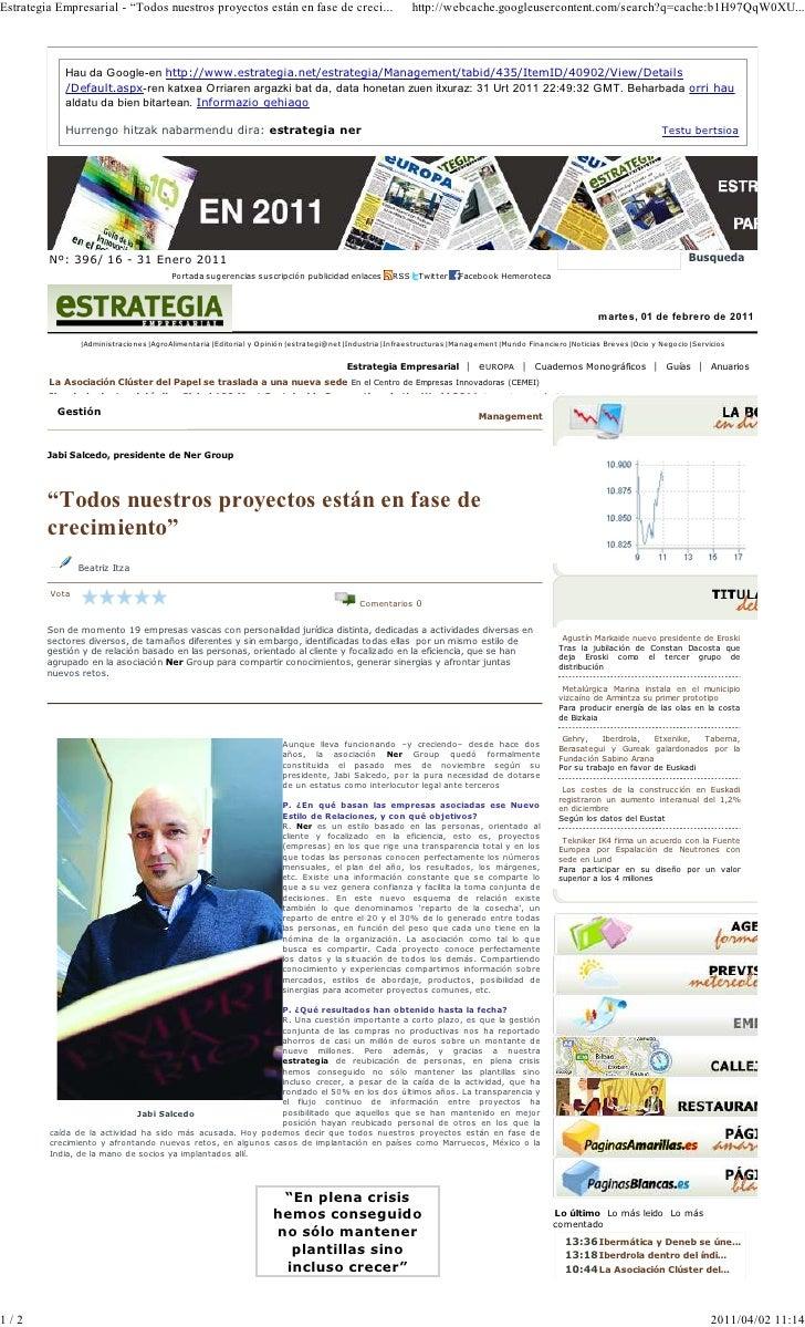 """Estrategia empresarial (articulo)   """"NER: Todos nuestros proyectos están en fase de crecimiento"""""""