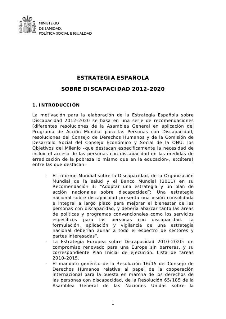 MINISTERIO  DE SANIDAD,  POLÍTICA SOCIAL E IGUALDAD                    ESTRATEGIA ESPAÑOLA            SOBRE DISCAPACIDAD 2...