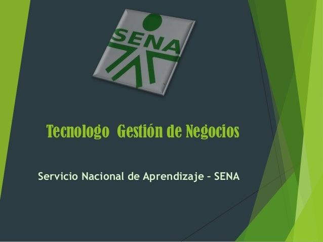 Tecnologo Gestión de NegociosServicio Nacional de Aprendizaje – SENA