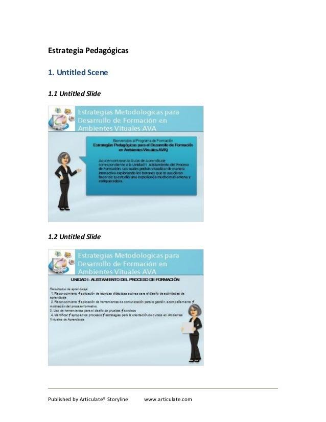 Estrategia Pedagógicas 1. Untitled Scene 1.1 Untitled Slide  1.2 Untitled Slide  Published by Articulate® Storyline  www.a...