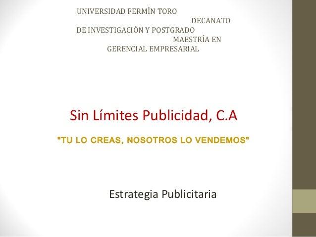 UNIVERSIDAD FERMÍN TORO                               DECANATO   DE INVESTIGACIÓN Y POSTGRADO                           MA...