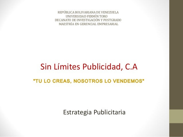 REPÚBLICA BOLIVARIANA DE VENEZUELA           UNIVERSIDAD FERMÍN TORO      DECANATO DE INVESTIGACIÓN Y POSTGRADO        MAE...