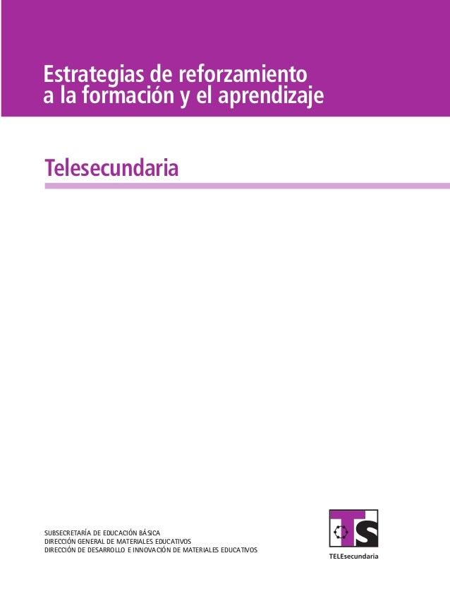 Estrategias de reforzamiento a la formación y el aprendizaje Telesecundaria  SUBSECRETARÍA DE EDUCACIÓN BÁSICA DIRECCIÓN G...