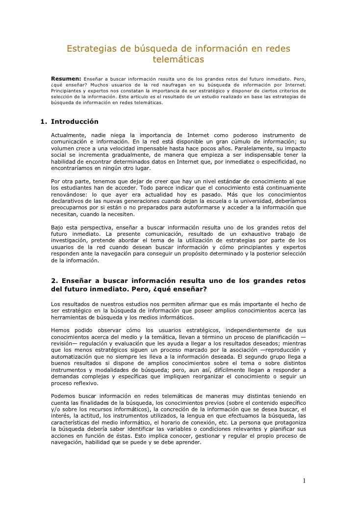 Estrategias De BúSqueda De InformacióN En Redes TelemáTicas
