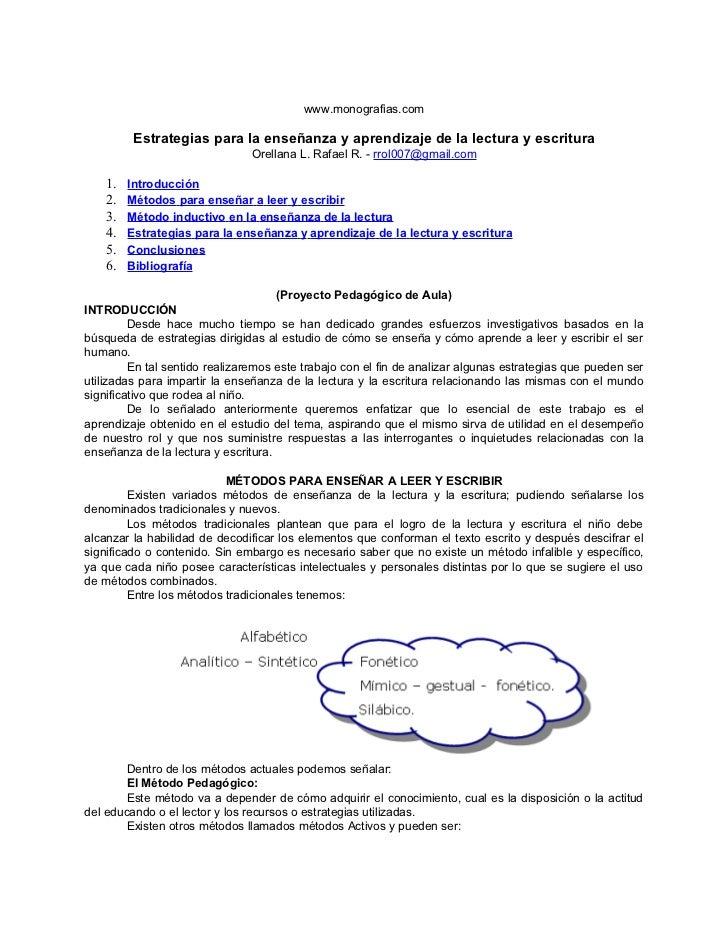 www.monografias.com          Estrategias para la enseñanza y aprendizaje de la lectura y escritura                        ...