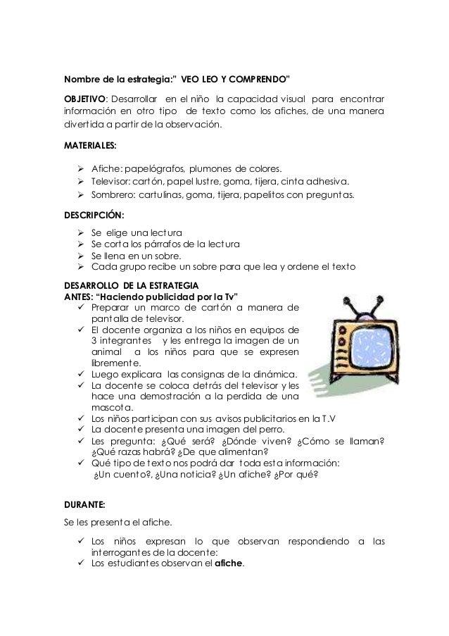"""Nombre de la estrategia:"""" VEO LEO Y COMPRENDO""""  OBJETIVO: Desarrollar en el niño la capacidad visual para encont rar  info..."""