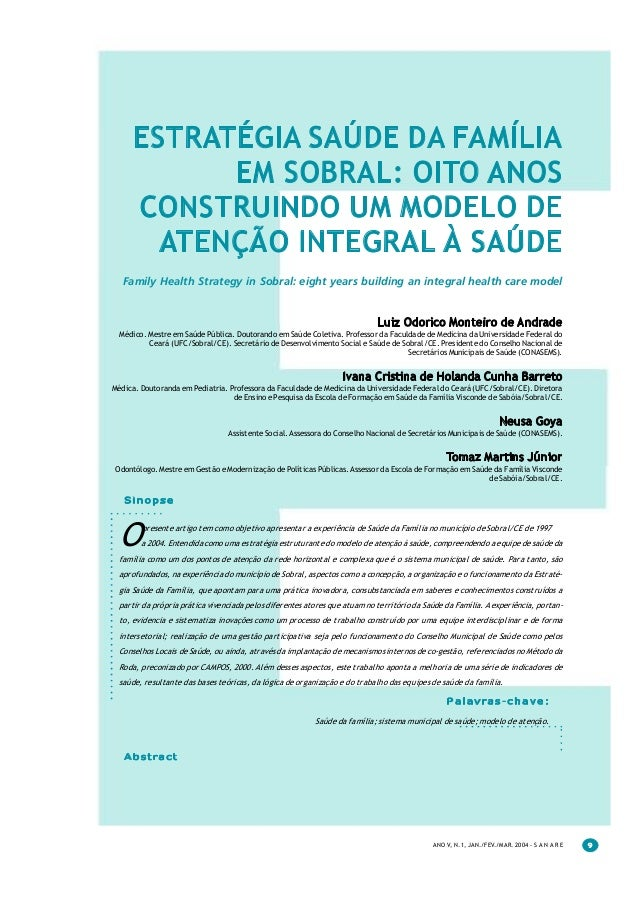ESTRATÉGIA SAÚDE DA FAMÍLIA            EM SOBRAL: OITO ANOS      CONSTRUINDO UM MODELO DE        ATENÇÃO INTEGRAL À SAÚDE ...