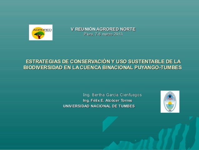 V REUNIÓN AGRORED NORTE                      Piura, 7-8 marzo 2013 ESTRATEGIAS DE CONSERVACIÓN Y USO SUSTENTABLE DE LABIOD...