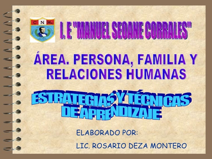 """I. E """"MANUEL SEOANE CORRALES"""" ÁREA. PERSONA, FAMILIA Y RELACIONES HUMANAS ESTRATEGIAS Y TÉCNICAS  DE APRENDIZAJE..."""