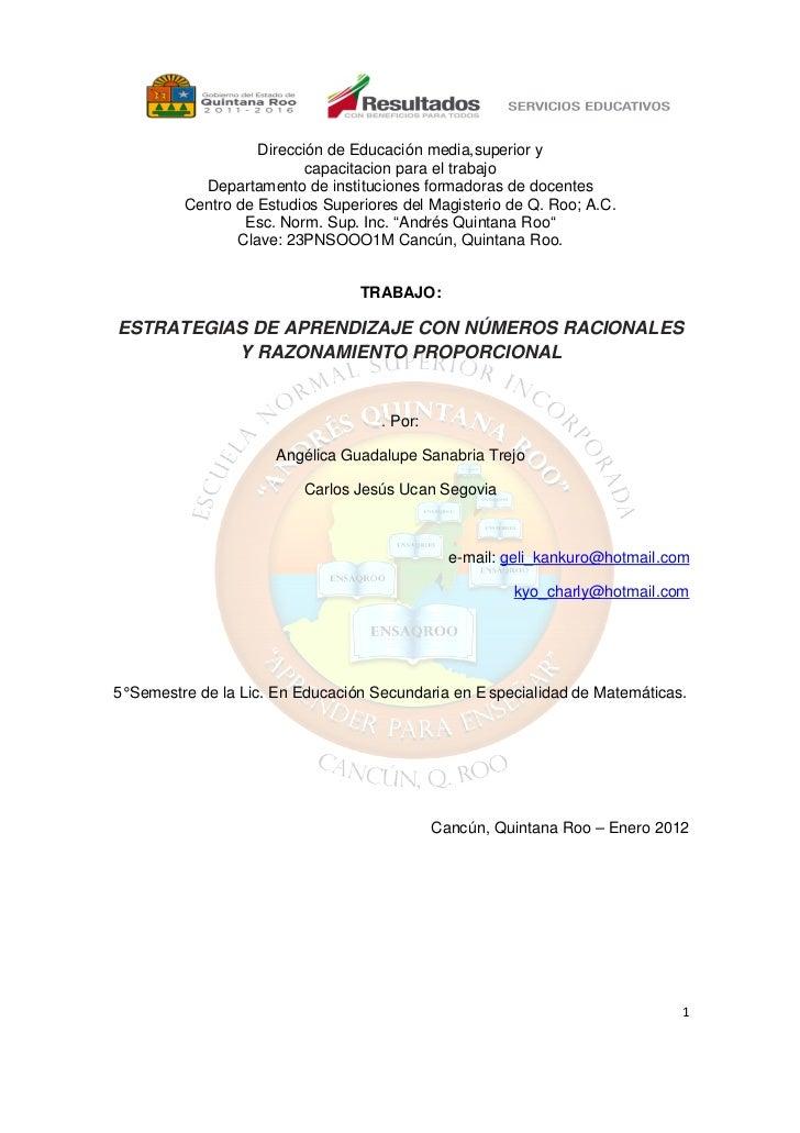 Dirección de Educación media,superior y                          capacitacion para el trabajo           Departamento de in...