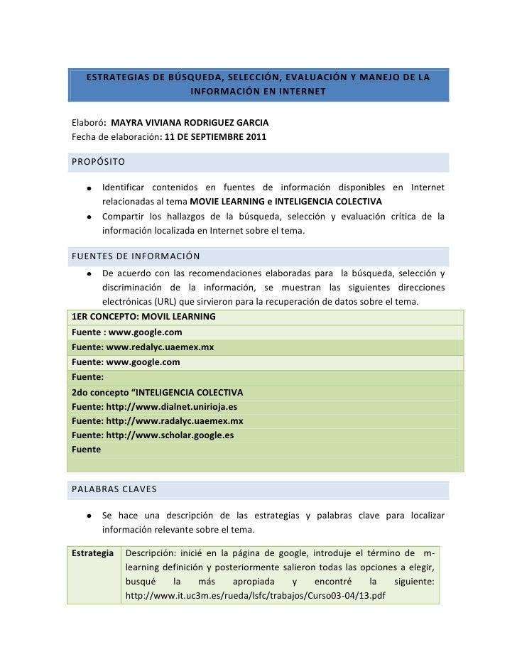Estrategias de búsqueda, selección, evaluación y manejo de la información en internet<br />Elaboró:  MAYRA VIVIANA RODRIGU...