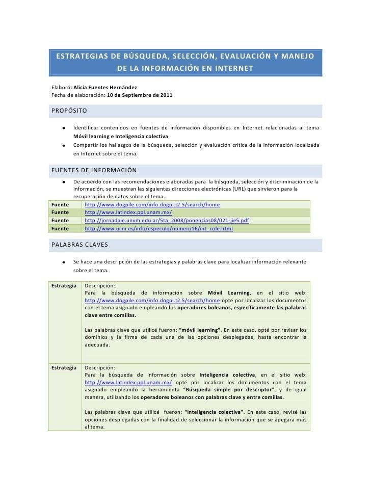 Estrategias de búsqueda, selección, evaluación y manejo de la información en internet