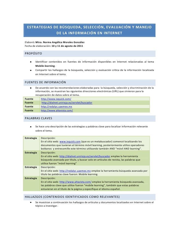 Estrategias de búsqueda, selección, evaluación y manejo de la información en internet<br />Elaboró: Mtra. Norma Angélica M...