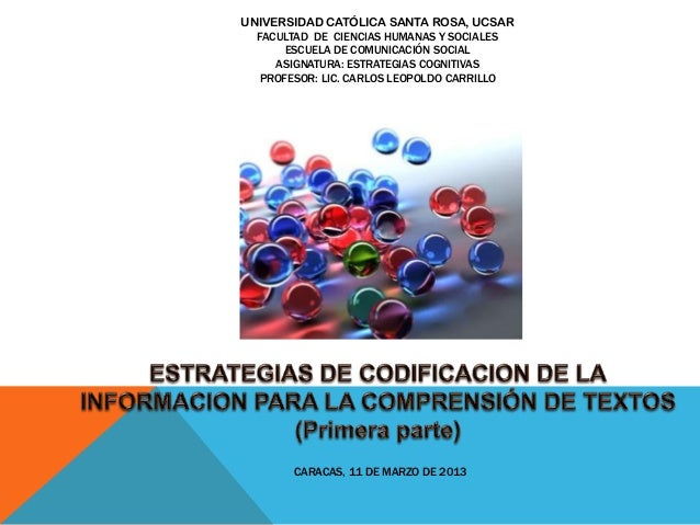 Estrategias de codificacion de la informacion para comprender textos escritos, diapositivas
