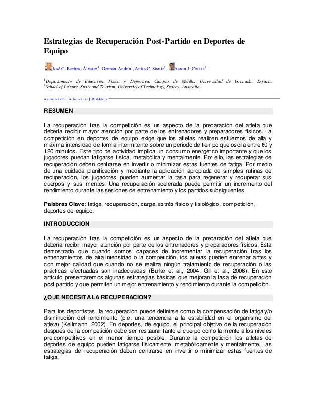 Estrategias de Recuperación Post-Partido en Deportes de Equipo José C. Barbero Álvarez1 , Germán Andrín1 , Anita C. Siroti...