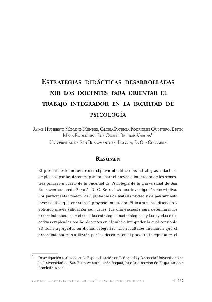ESTRATEGIAS                      DIDÁCTICAS DESARROLLADAS            POR LOS DOCENTES PARA ORIENTAR EL       TRABAJO INTEG...