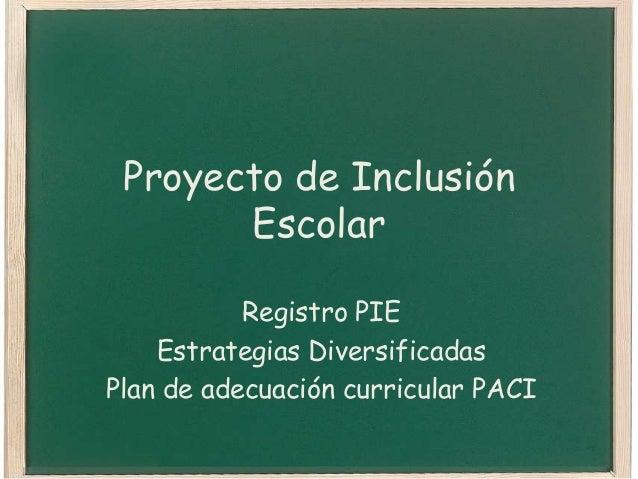 Proyecto de Inclusión Escolar Registro PIE Estrategias Diversificadas Plan de adecuación curricular PACI
