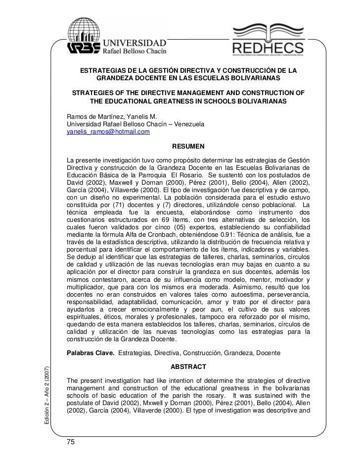 ESTRATEGIAS DE LA GESTIÓN DIRECTIVA Y CONSTRUCCIÓN DE LA                                    GRANDEZA DOCENTE EN LAS ESCUEL...
