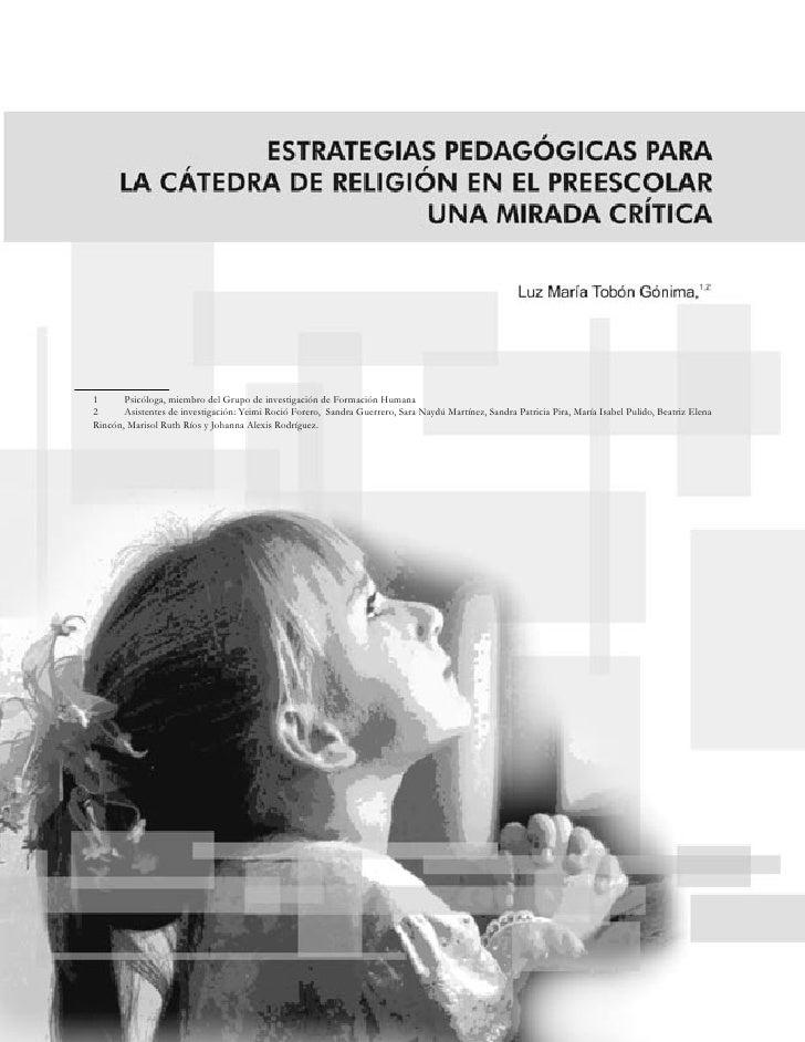 Estrategias Pedagogicas Para La Catedra De Religion En El Preescolar
