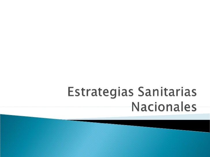 Estrategias Sanitarias Nacional Y Plan De Saneamiento Basico