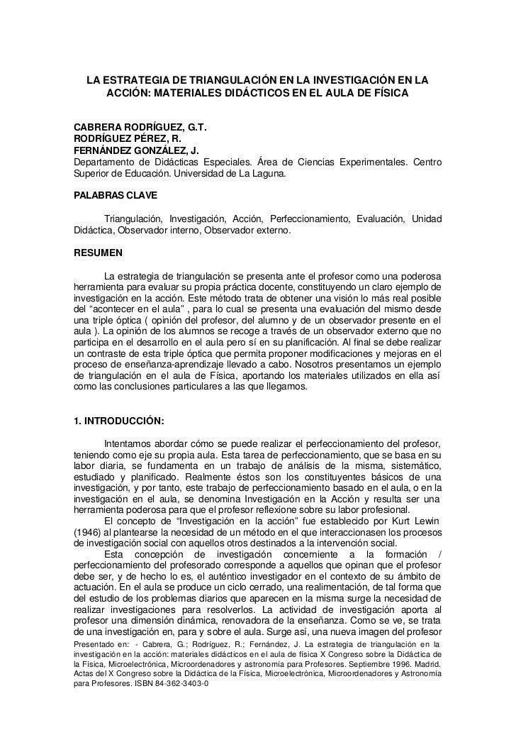 LA ESTRATEGIA DE TRIANGULACIÓN EN LA INVESTIGACIÓN EN LA       ACCIÓN: MATERIALES DIDÁCTICOS EN EL AULA DE FÍSICACABRERA R...