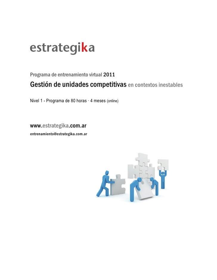 Programa de entrenamiento virtual 2011Gestión de unidades competitivas en contextos inestablesNivel 1 - Programa de 80 hor...