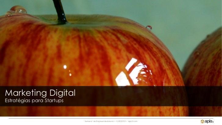 Marketing DigitalEstratégias para Startups                            Semana de Empreendedorismo – 11/09/2012 – apis3.com